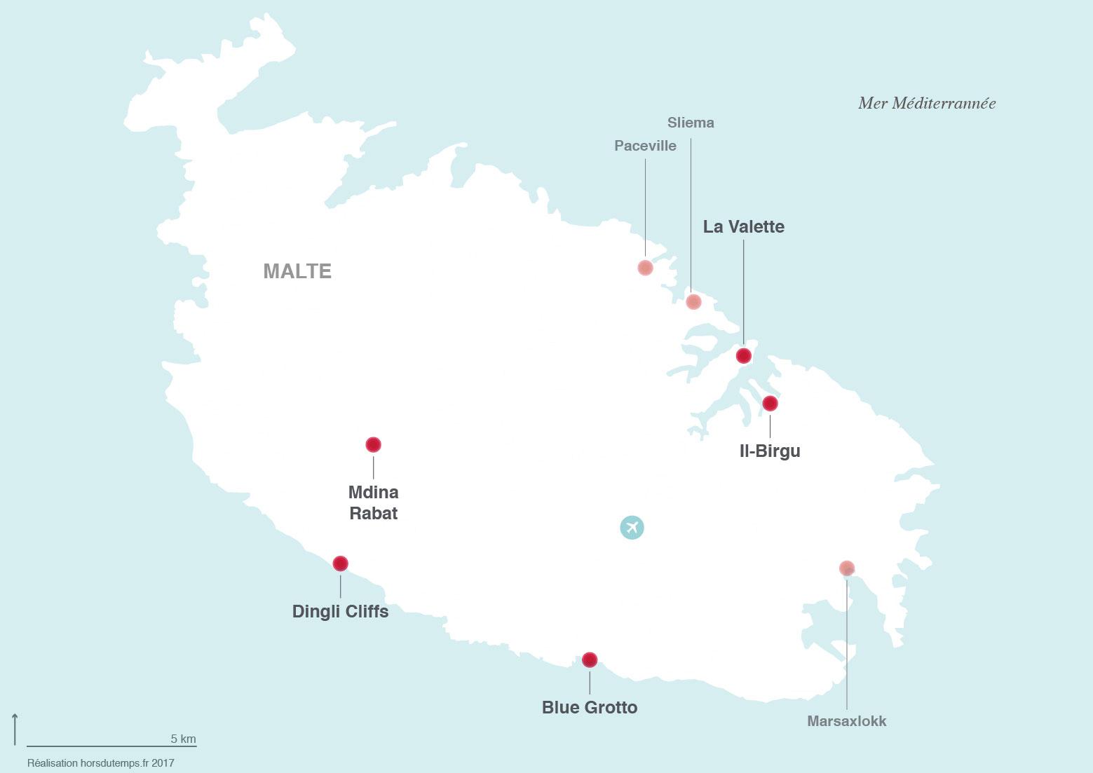 carte pour visiter malte